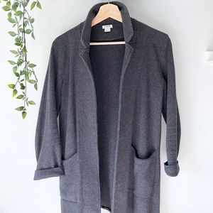 J Crew open front sweater blazer • charcoal